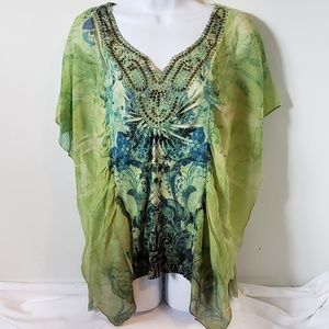 One World Boho Hippie Beaded Green Floral Blouse